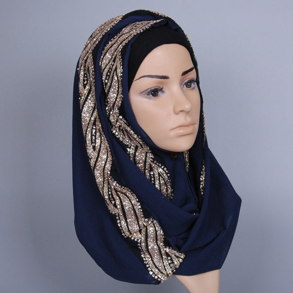 KL228 Fashion Diamonds Inner Hijab High Quality Long Turban Muslim Head Scarf Colorful Hoofddoek Moslima 170-80CM