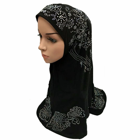 Deluxe Muslim Islamic Hijab Scarf Woman Amira Cap Fashion Beautiful Rhinestone Ready to Wear