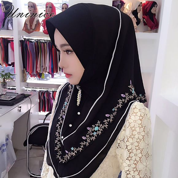 Fashion Muslim Women's Hijab Embroidery Scarf Bandanas Hooded Instant Wraps Bonnet Shawl Headscarf Abaya Headgear Arab Islamic