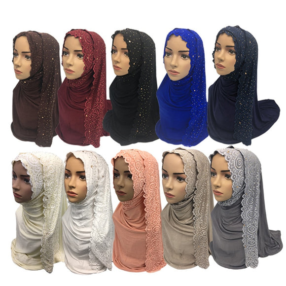 Cotton Muslim Hijab Scarf Women Shawl Islamic Turban Women Lace Headscarf Muslim Scarf Shawl 10 Colors