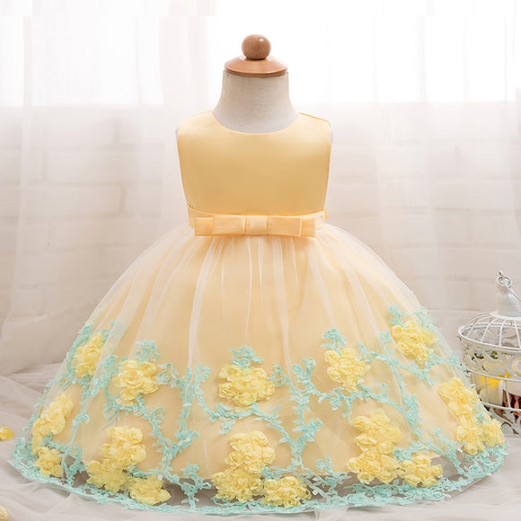 1 Year Birthday Toddler Girl Baptism Dress Fairy Princess Flower Baby Wedding Gown Kids Tutu Clothes For Girls Party 12M 24M