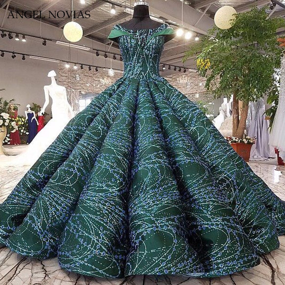Custom Make Luxury Long Green Ball Gown Arabic Dubai Muslim Wedding Dresses 2018 Tulle Bridal Gowns vestido de novia princesa