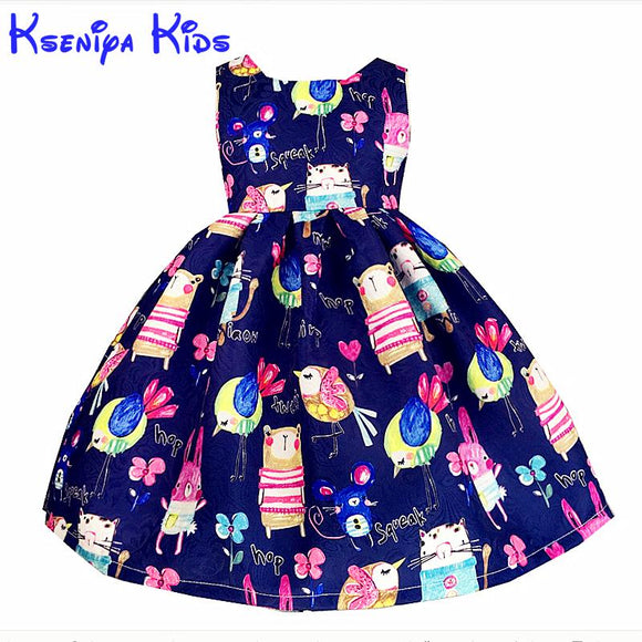 Kseniya Kids New European Summer Girls Dresses Cotton Cartoon Girl Kids Clothes Blue Pink Flower Dress Hand Graffiti 2-14 Years