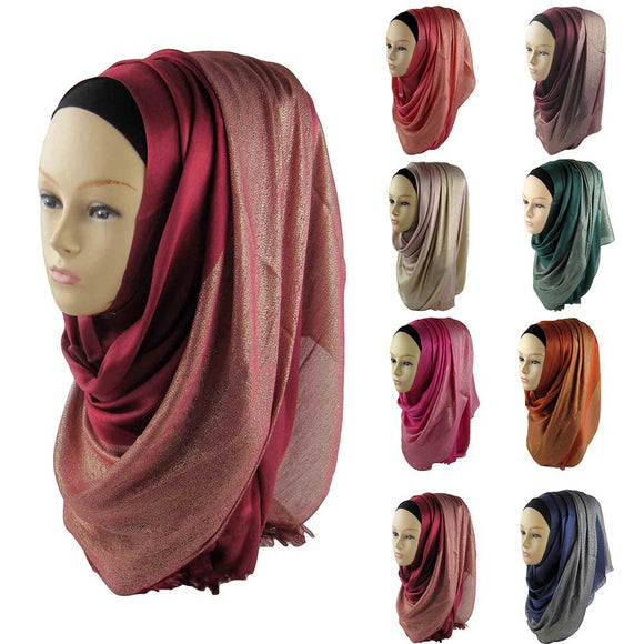 Women Plain Chiffon Muslim Hijab Scarf Wrap Solid Color Shawls Headband Muslim Hijabs Scarves Islamic Shawl Cap Head Cover