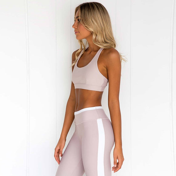 High Impact Exercise two-piece Set High Waist Elastic work out Suit Fitness jogging Sportswear For Women elastic stripe Leggings