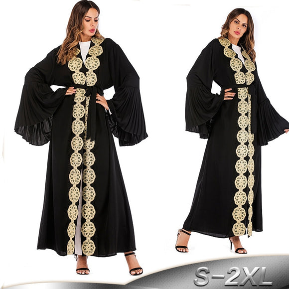 Black Abaya Dubai Sequined Floral Hijab Muslim Dress Qatar UAE Abayas For Women Jilbab Robe Musulmane Turkish Islamic Clothing