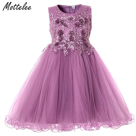 Mottelee Flower Girls Dress Wedding Party Dresses for Kids Pearls Formal Ball Gown 2018 Evening Baby Outfits Tulle Girl Frocks