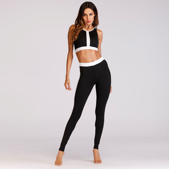 Women work out Set 2PCS Female Suit Set Bra Sleeveless Tank Top Black and white stripe stitching Fitness Clothes 2019 new