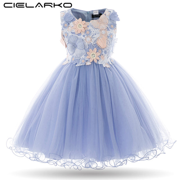 Cielarko Kids Girls Flower Dress Baby Girl Butterfly Birthday Party Dresses Children Princess Fancy Ball Gown Wedding Clothes