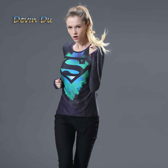 Women compression shirt tights long sleeve fitness t-shirt clothes exercise Superman Batman tees & tops plus size