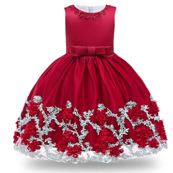 Kids Birthday Princess Party Dress for Girls Infant Flower Children Bridesmaid Elegant Dress for Girl baby Girls Clothes
