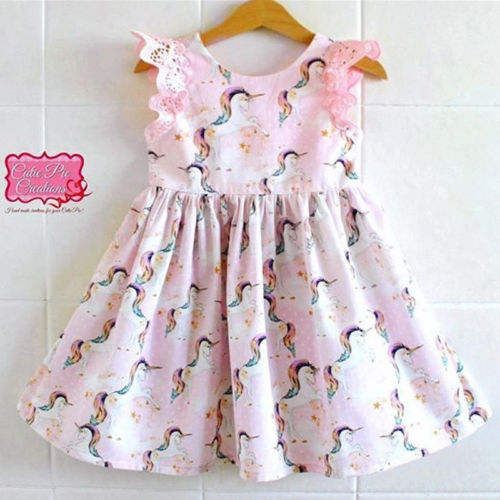1-6Y Toddler Kids Baby Girls Summer Cartoon Unicorn Lace Short Sleeve Cotton Pageant Ball Gown Dress Sundress Outfits Clothes