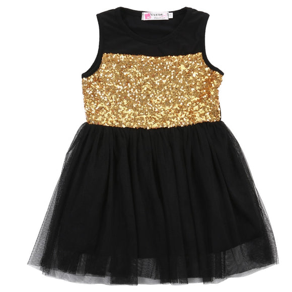 2-7T Kids Baby Girls Summer Dress Clothing Toddler Girl Sleeveless Tutu Sequin Princess Party Pageant Sundress Dresses