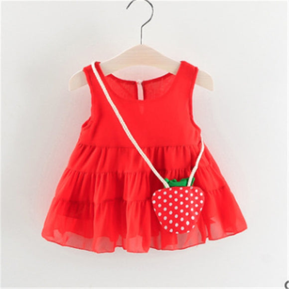 0-3T Infant Baby Kids Girl Dress Strawberry Bag Sleeveless Tutu Party Dresses Casual Clothes Princess Sundress