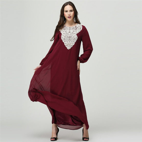 Embroidered Burgundy Women Muslim Dress Plus Size Long Turkish Islamic Clothing Long Sleeves Moroccan Arab Middle East Djellaba