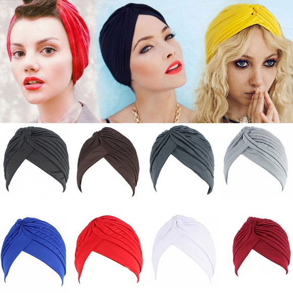 Women Men Turban Head Wrap Band Chemo Bandana Hijab Pleated Indian Cap