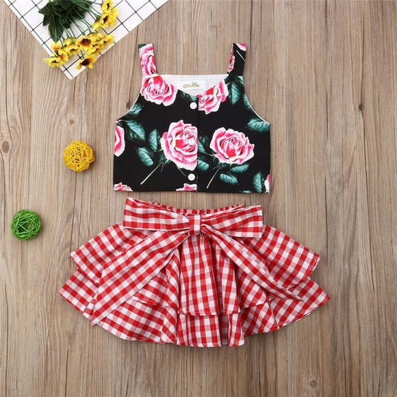 1-6Y Fashion Kids Baby Girl Clothes Sets Summer 2Pcs Flower Sleeveless Vest Crop Tops Plaid Tutu Skirts Ball Gown 2Pcs Grirl Set