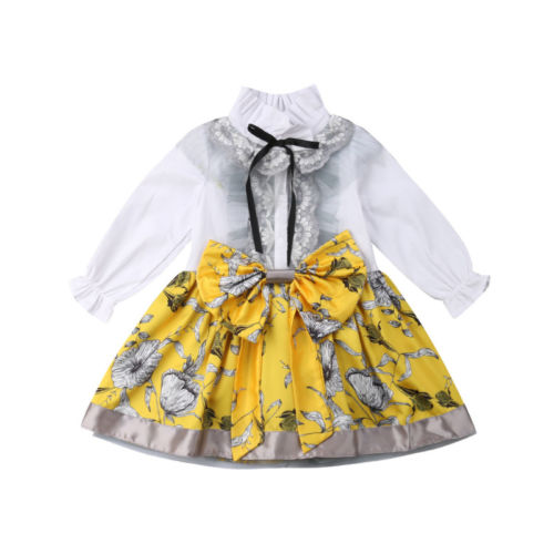 1-5T Fashion Toddler Kid Baby Girls Formal Princess Dress Lace Flower Tutu Bowknot Long Sleeve Party Long Dress Clothes