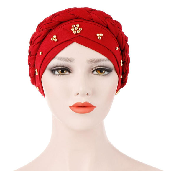 Muslim Women Stretch Braid Cross Whip Bead Cross Silk Turban Hat Scarf Beanie Caps Hijab Headwear Head Wrap Hair Accesories