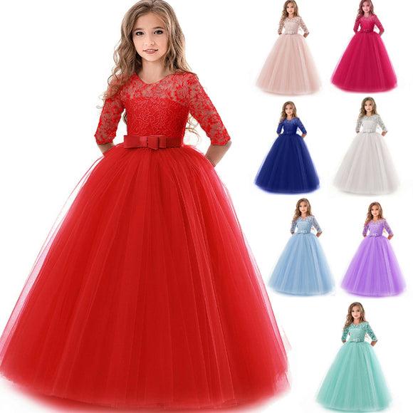 Girls Lace Half Sleeve Dress Kid Girls First Communion Dresses Tulle Lace Wedding  Princess Costume For Junior Children Clothes