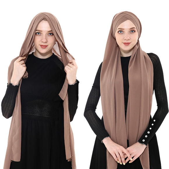 2019 Summer Women's chiffon Ready To Wear Instant Hijab Scarf  Muslim chiffon head scarf Islamic shawls Arab Headscarf