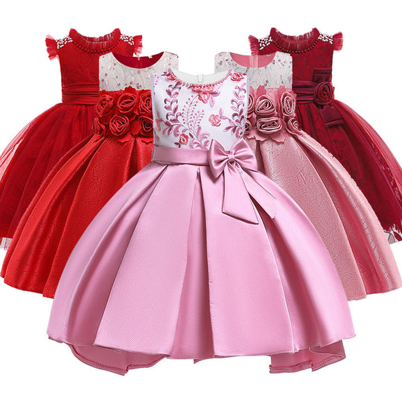 Girl princess party dress kids wedding birthday elegant flower dresses child bow dress baby 3-10 years children tutu clothing