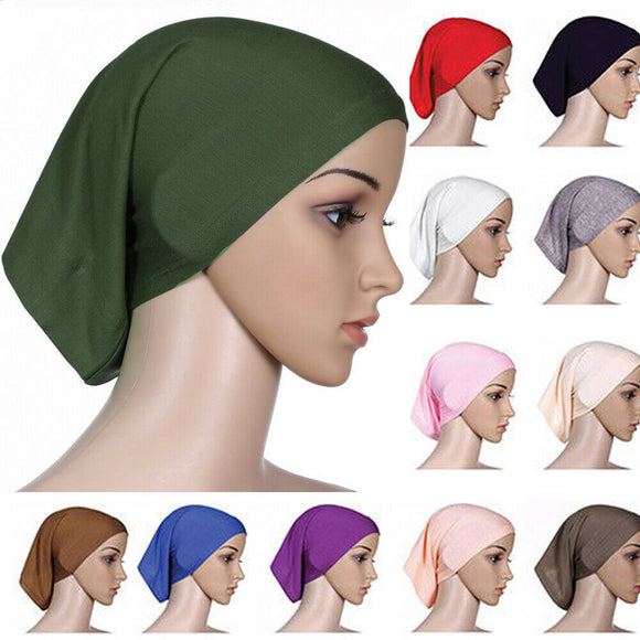 2019 Newest Islamic Muslim Women's Head Scarf Cotton Underscarf Hijab Cover Headwrap Bonnet Plain Hijabs