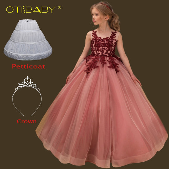 Children Party Lace Sleeveless Long Evening Dress Girls Long Graduation Holy Communion Dresses Age 7 8 9 10 11 12 13 14 15 Years