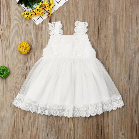 1-6Y Kids Baby Girl Lace Princess Dress Eleghant Girl Formal Wedding Party Flowers Dress Sleeveless Strap Tulle Tutu Ball Gown
