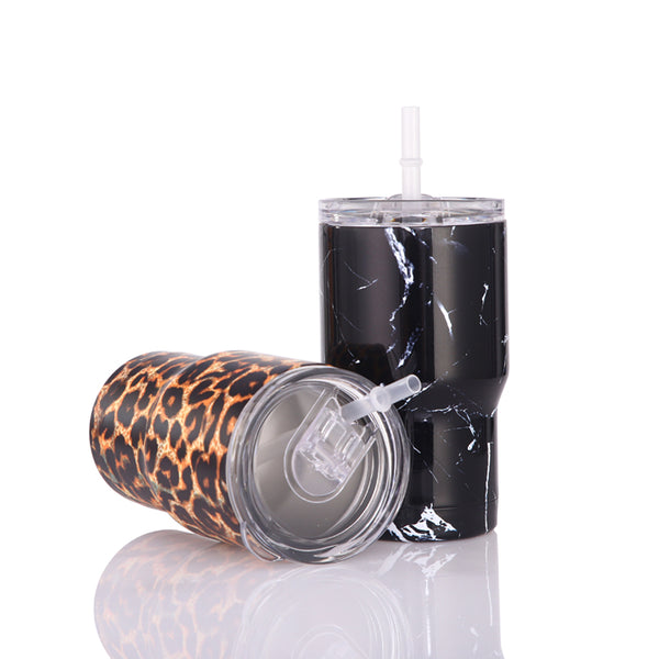 15oz Q Tumbler Leopard Marble Double Wall Stainless Steel Tumbler Cups with Lid and Straw