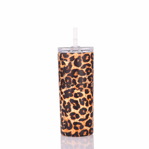 15oz Skinny Tumbler Leopard Marble Double Wall Stainless Steel Tumbler Cups with Lid and Straw