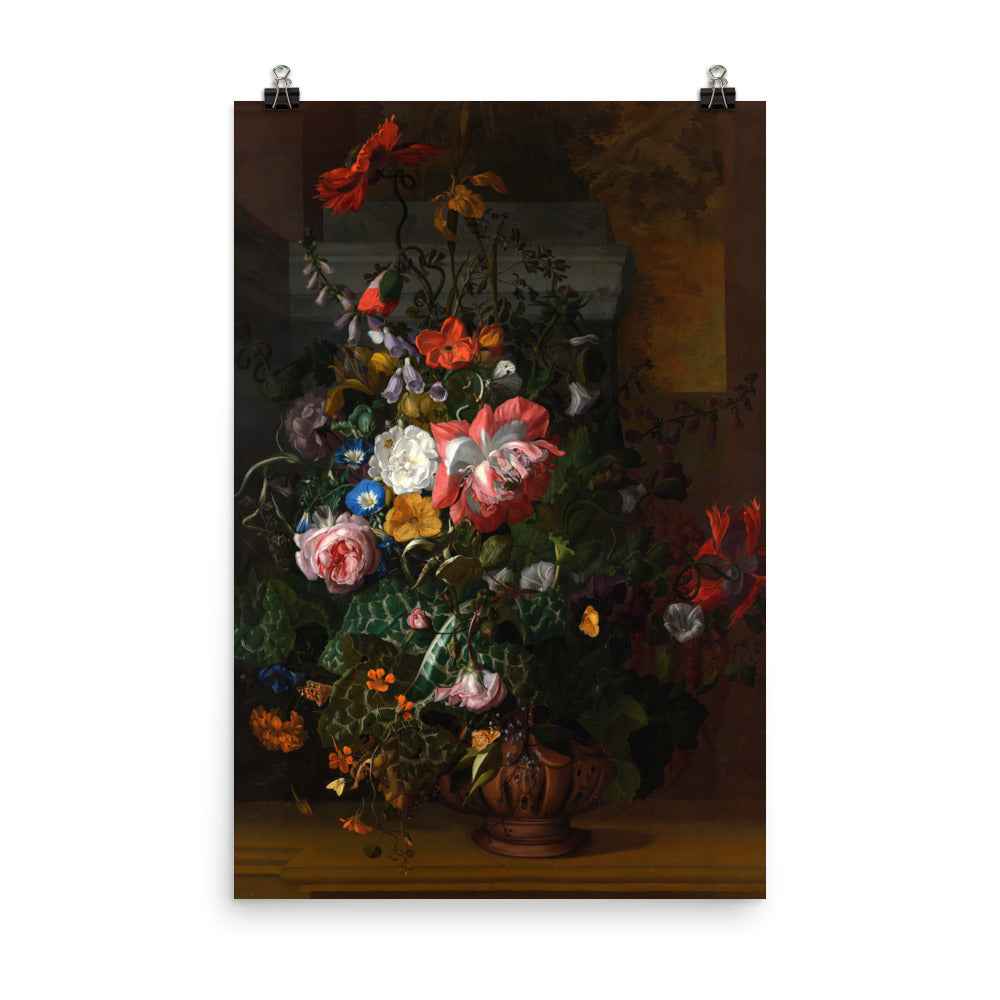 Roses, Convolvulus, Poppies, and Other Flowers in an Urn on a Stone Ledge
