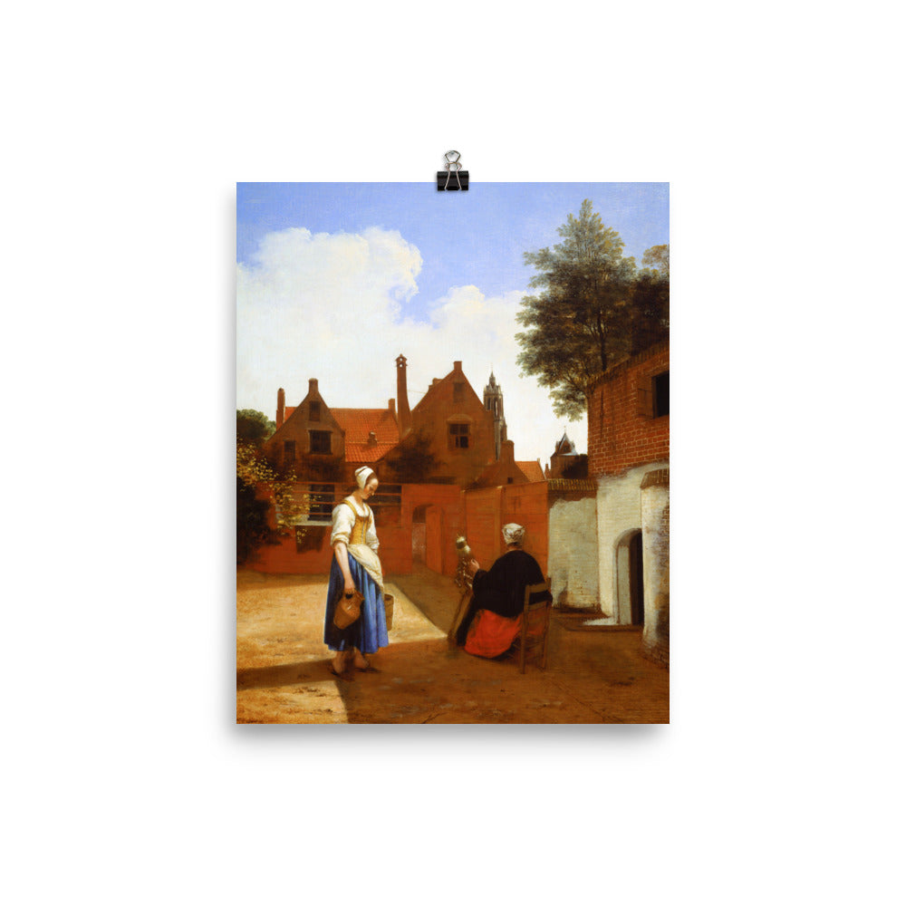 Courtyard in Delft at Evening: a Woman Spinning
