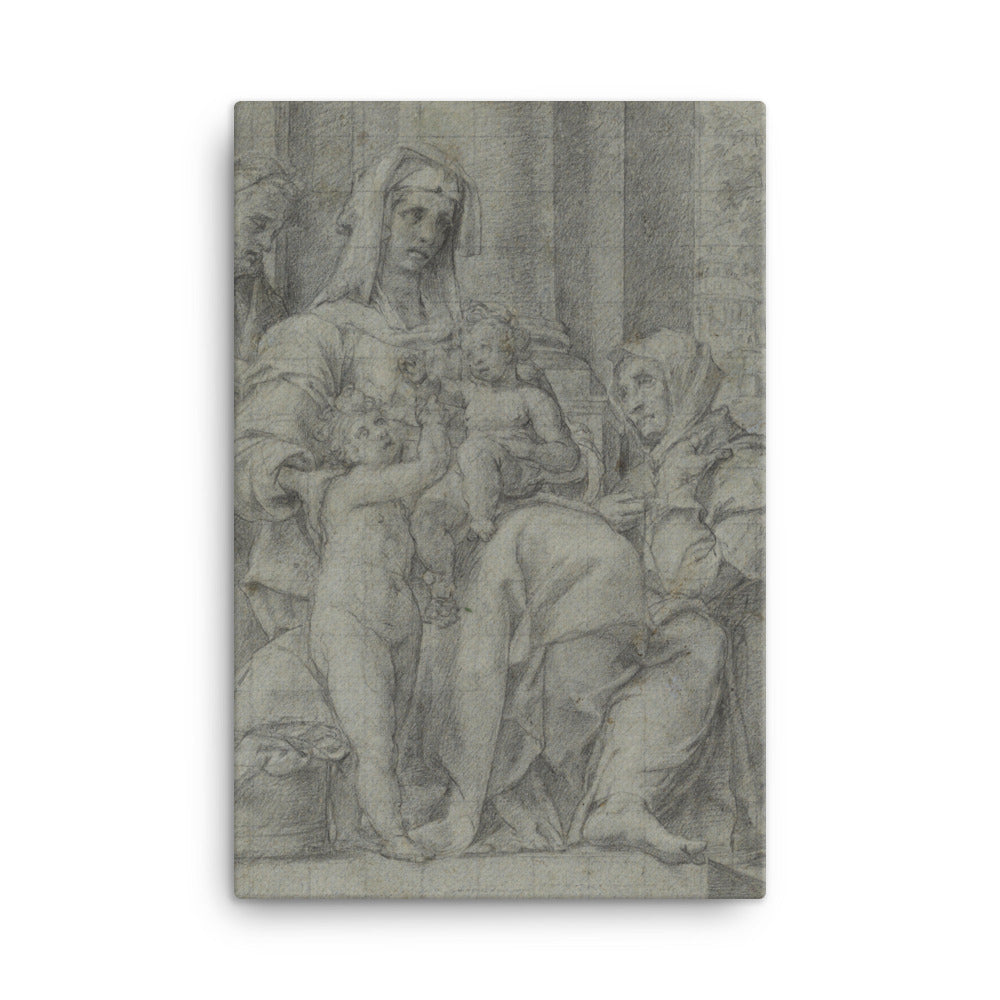 Holy Family with Saint John the Baptist Adored by an Unidentified Figure