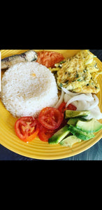 Angwamu Oil rice with fresh chilli, onion, tomatoes avocado and fried eggs