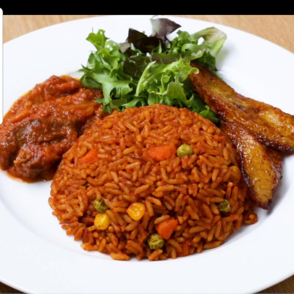 Jollof rice with salad
