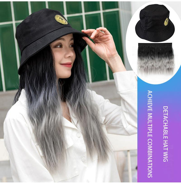 Hat Hair - Detachable Wig Hat And Gradient Hair Straight Wave