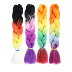 Synthetic Hair Extension - 24inch Colorful Synthetic Extensions Braiding Hair