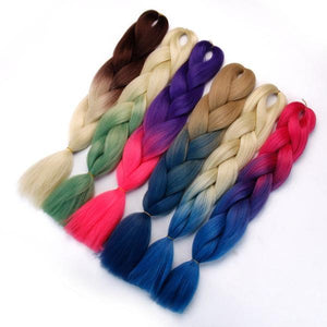 Synthetic Hair Extension - Hair Braid Synthetic Hair Extensions Jumbo Two Tone Color Ombre