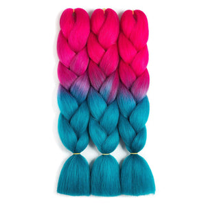 Synthetic Hair Extension - High Temperature Fiber Colorful Braids Kinky Straight