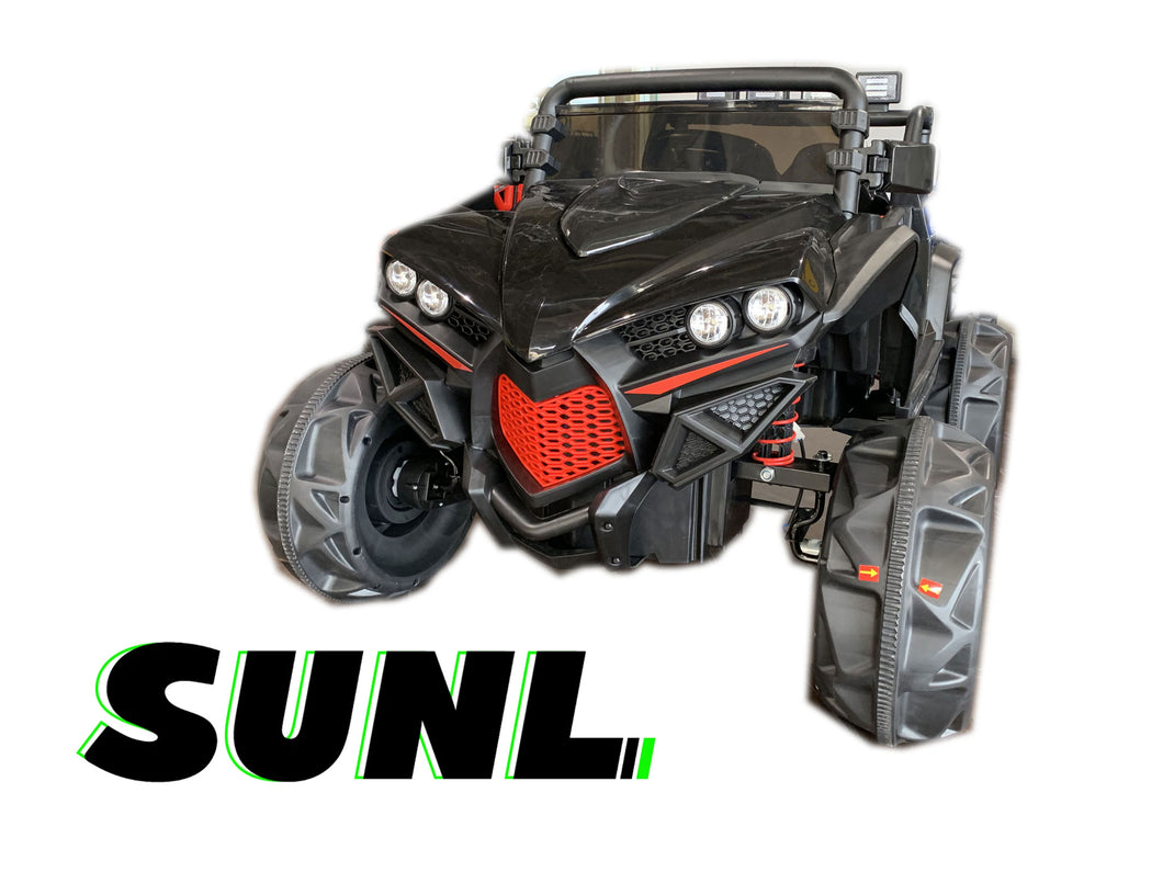 SunL 12V 4x4 4-Wheel Drive Kids Ride On Mini UTV | Truck | Car w/Remote | Manual Drive | MP3 Player - Black
