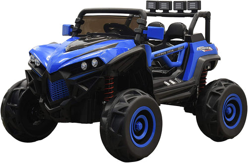 SunL 12V 4x4 4-Wheel Drive Kids Ride On Mini UTV | Truck | Car w/Remote | Manual Drive | MP3 Player | Front & Tail Lights - Blue