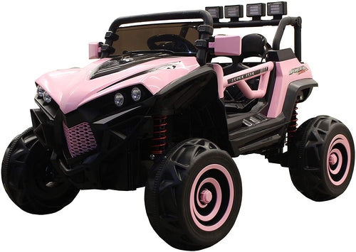 SunL 12V 4x4 4-Wheel Drive Kids Ride On Mini UTV | Truck | Car w/Remote | Manual Drive | MP3 Player - Pink