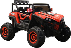 SunL 12V 4x4 4-Wheel Drive Kids Ride On Mini UTV | Truck | Car w/Remote | Manual | MP3 Player - Red