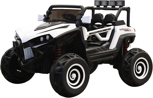 SunL 12V 4x4 4-Wheel Drive Kids Ride On Mini UTV | Truck | Car w/Remote | Manual | MP3 Player - White