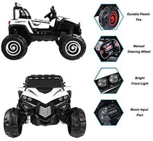 Load image into Gallery viewer, SunL 12V 4x4 4-Wheel Drive Kids Ride On Mini UTV | Truck | Car w/Remote | Manual | MP3 Player - White