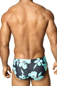 Vuthy 326 Hibiscus Swimsuit Brief Blue