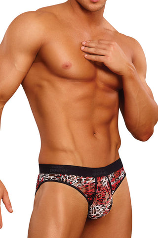 Male Power 490-174  Leopard Lace Enhancer Bikini Black and Red