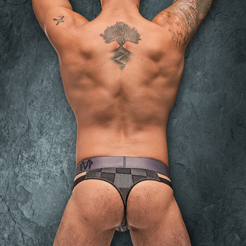 Male Power 411251 Checked Mate Cutout Thong