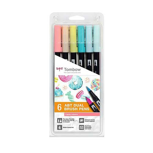 Set de 6 Dual Brush Pens Tombow Candy Colors